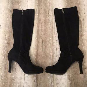 Tahari Knee High Black High Heeled Boots Size 7.5